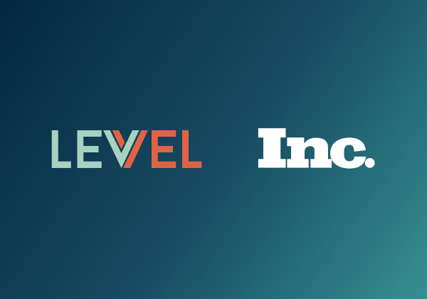 Levvel and Inc. logos on blue gradient