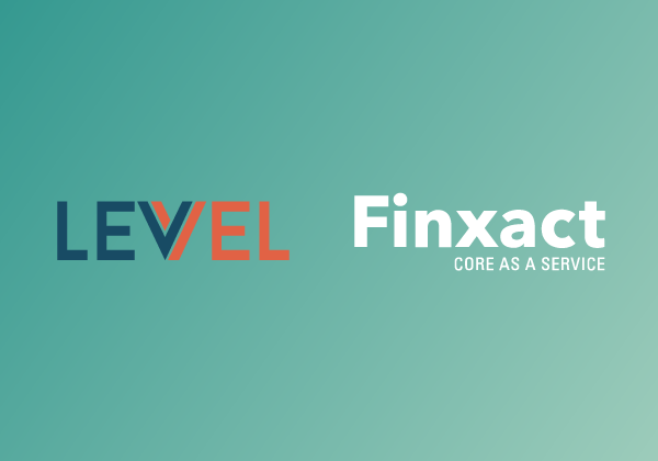 Mint gradient with Levvel and Finxact logos